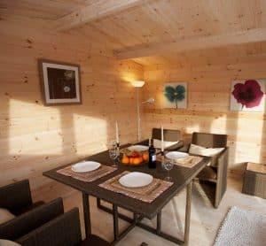 13' x 10' Berkshire Swallowfield 34mm Log Cabin Inside View