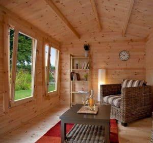 13'1x9'10 Berkshire Padworth 34mm Log Cabin Windows Roof and Cladding