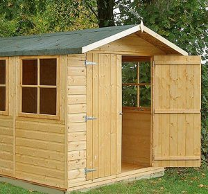 13'2 x 6'6 Shire Jersey Double Door Shed Single Door Open