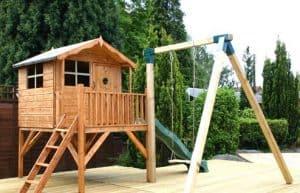 13'3 x 12' Windsor Tulip Activity Slide Tower Playhouse Unpainted