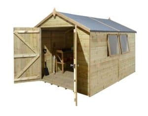14' x 8' Shed-Plus Champion Heavy Duty Apex Double Door Shed Unpainted
