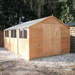 15 x 10 Waltons Overlap Apex Modular Garden Workshop Closed Doors