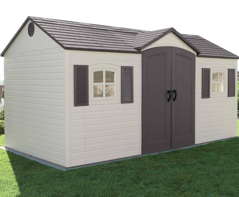 15' x 8' Lifetime Heavy Duty Plastic Shed - Single Entrance