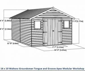 16 x 10 Waltons Groundsman Windowless Tongue and Groove Modular Workshop Overall Dimensions