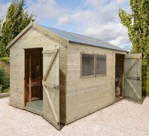 16' x 8' Shed-Plus Champion Heavy Duty Combination Single Door Shed Open