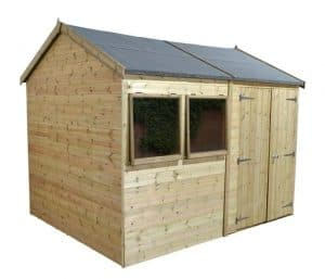 16' x 8' Shed-Plus Champion Heavy Duty Reverse Apex Double Door Shed Closed