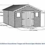 20 x 10 Waltons Groundsman Windowless Tongue and Groove Modular Workshop Overall Dimensions