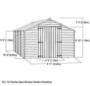 20 x 10 Waltons Overlap Apex Modular Garden Workshop Overall Dimensions