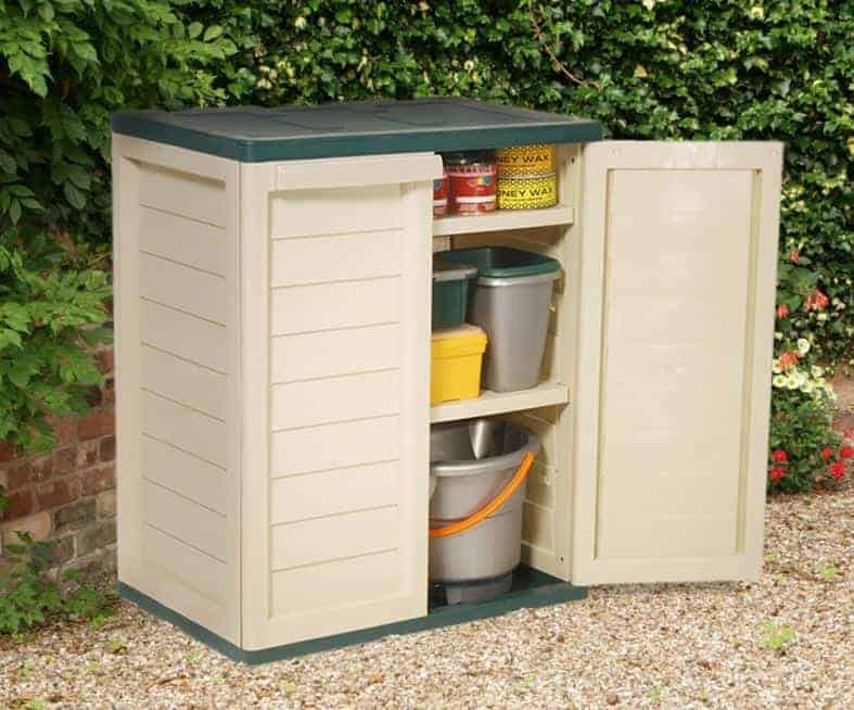 3 39 x 2 39 2 shelf plastic utility storage cabinet by store for Outdoor storage units for sale