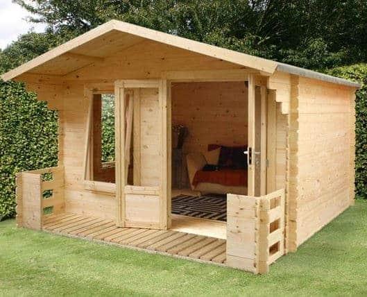 3.4 x 3.3 Waltons Standard Log Cabin Studio with Veranda