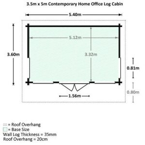 3.5 x 5 Waltons Contemporary Home Office Log Cabin Dimensions