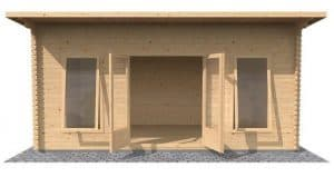 3.5 x 5 Waltons Contemporary Home Office Log Cabin Front View