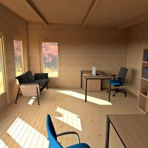3.5 x 5 Waltons Contemporary Home Office Log Cabin Inside View