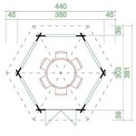 3.50 x 3.03 Ilmenau Log Cabin Overall Dimensions