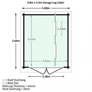 3.8 x 5.4m Waltons Garage Log Cabin Overall Dimensions