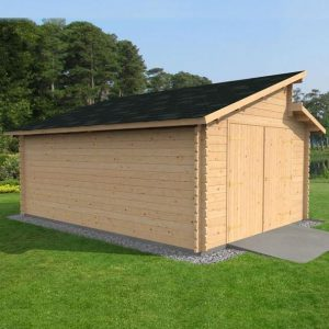 3.8 x 5.4m Waltons Garage Log Cabin Right Side View