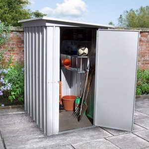 3'11 x 5'2 Yardmaster Pent Metal Shed 54PEZ+ With Floor Support Kit Open Door
