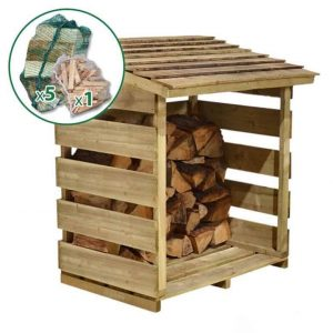 3'9 x 2'1 Store-Plus Log Store including Firewood Pack Unpainted