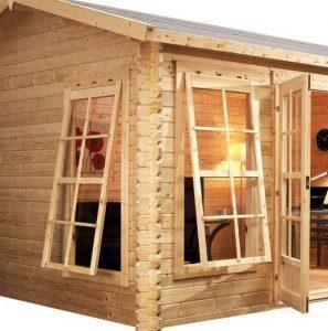 4 x 3 Waltons Home Office Director Log Cabin Cladding Windows and Doors
