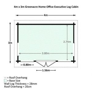 4 x 3 Waltons Home Office Director Log Cabin Overall Dimensions