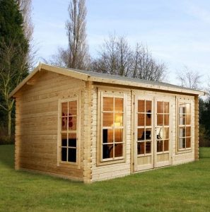 4 x 3 Waltons Home Office Director Log Cabin Perspective View