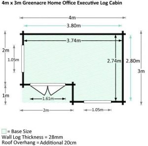 4 x 3 Waltons Home Office Executive Log Cabin Dimensions