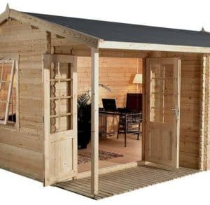 4 x 3 Waltons Home Office Executive Log Cabin Side View