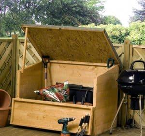 4' x 3' Windsor Wooden Garden Storage Chest Open Lid