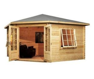 4 x 4 Waltons Lodge Corner Log Cabin Open Doors