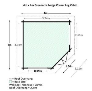 4 x 4 Waltons Lodge Corner Log Cabin Overall Dimensions