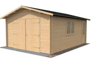 4.2 x 5.7m Waltons Garage Log Cabin Closed Door