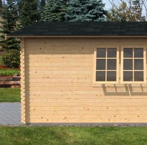 4.2 x 5.7m Waltons Garage Log Cabin Left Side