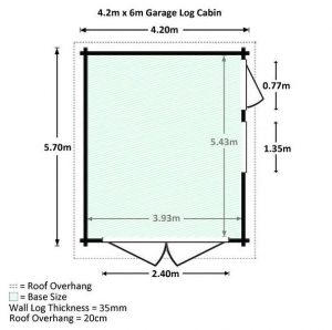 4.2 x 5.7m Waltons Garage Log Cabin Overall Dimensions