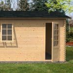 4.2 x 5.7m Waltons Garage Log Cabin Right Side with the door