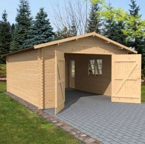 4.2 x 5.7m Waltons Garage Log Cabin Side View