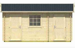 4.50 x 3.00 Bora Log Cabin Double Door Closed