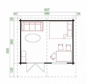 4.80m x 3.90m Spiekeroog 2 Log Cabin Overall Dimensions