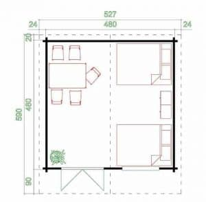 4.80m x 4.80m Spiekeroog 3 Log Cabin Overall Dimensions