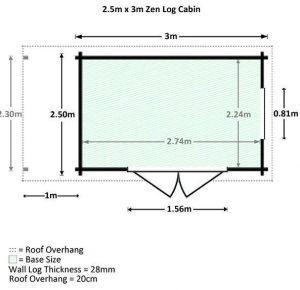 4x2.5 Waltons Zen 1 Log Cabin Dimensions