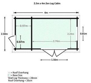 4x2.5 Waltons Zen 2 Log Cabin Dimensions