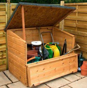 4x3 Waltons Wooden Garden Storage Chest Open