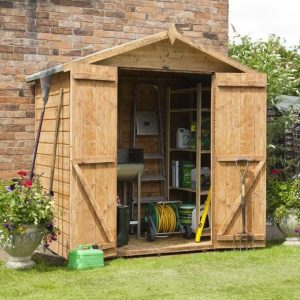 4x6 Waltons Mini Tongue and Groove Apex Wooden Shed Double Doors Open