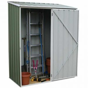 5' x 2'7 Absco Easy Store 1PE Green Metal Shed Open Door