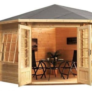 5 x 3 Waltons Left Sided Lodge Plus Corner Log Cabin Cladding Roof and Windows