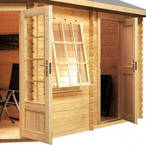 5 x 3 Waltons Left Sided Lodge Plus Corner Log Cabin Door Window and Cladding