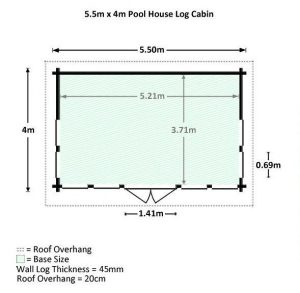5.5 x 4 Waltons Pool House Log Cabin Dimensions