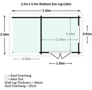 5.5x2.5 Waltons Zen 3 Log Cabin Dimensions