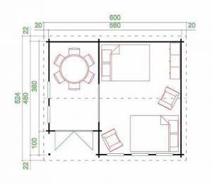 5.60 x 4.80 Sri Lanka Log Cabin Overall Dimensions