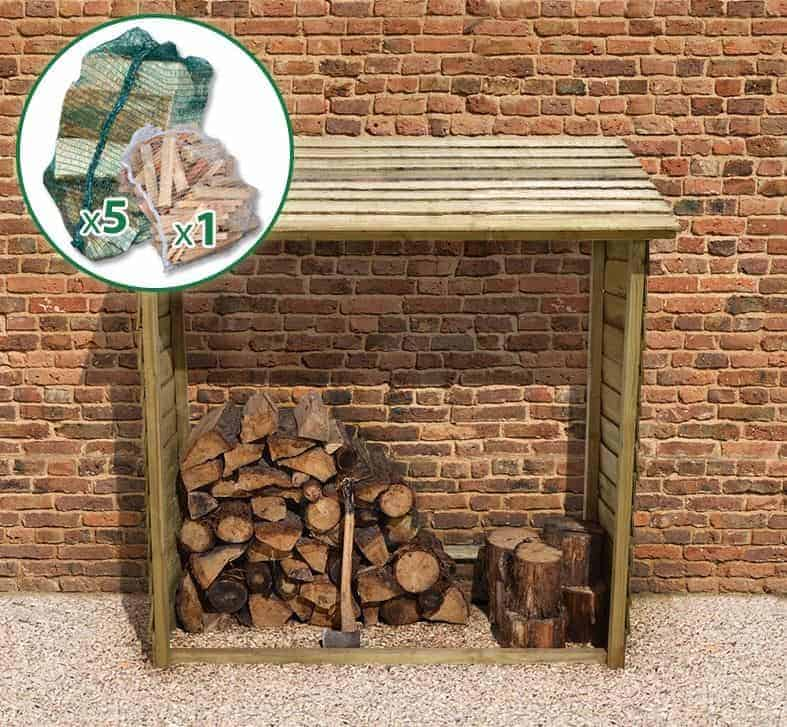 5'9 x 2' Store-Plus Large Wall Log Store including Firewood Pack