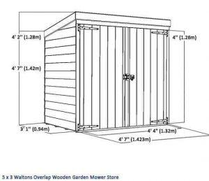 5x3 Waltons Overlap Wooden Garden Mower Store Overall Dimensions